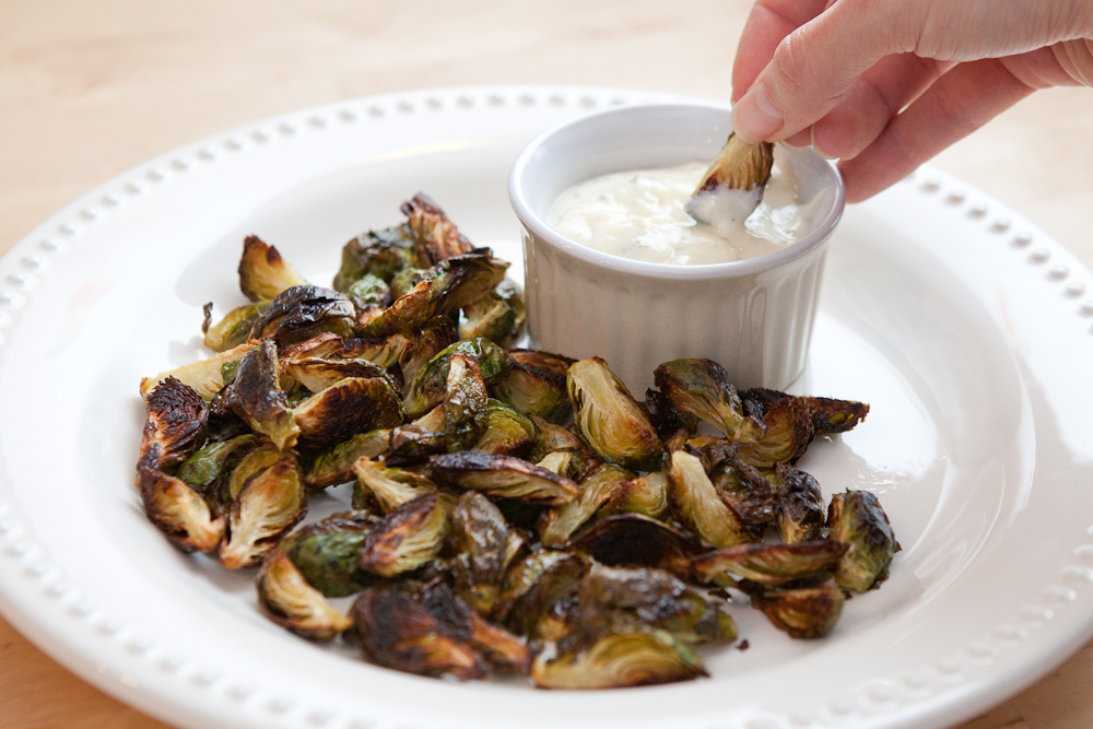 roasted brussels sprout bites with dipping sauce via teacher-chef.comcom