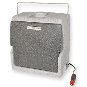 Handeman In-Cab portable hand washing unit ready to plug into a standard cigar/cigarette lighter socket