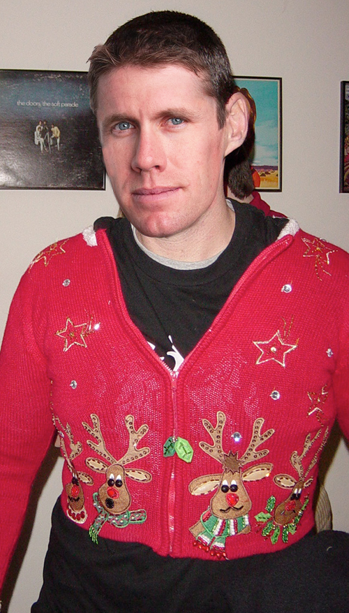 Carl Edwards in his ugly christmas sweater Holiday sweater funny pictures funny nascar driver pictures photos