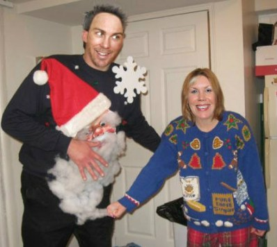 kevin and delana harvick in his ugly christmas sweater Holiday sweater funny pictures funny nascar driver pictures photos