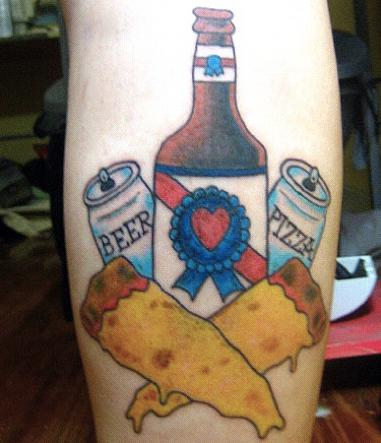 beer tattoos, food tattoos, pizza tattoos, Bad Tatto Photos, America's Worst Tattoos, Awful, Fail, Terrible, Funny Tattoos, Tattoo Removal, Drunk Decisions, horrible, stupid, dumb, crazy, awkward pics,