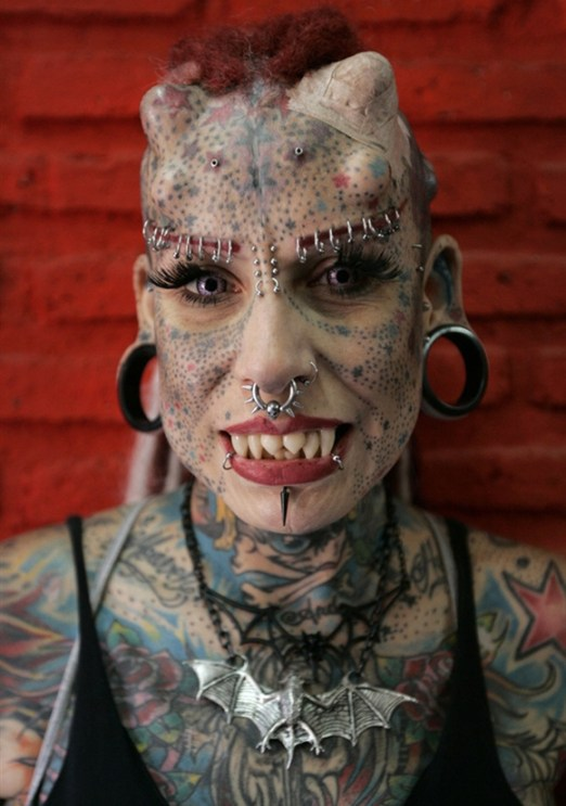 Scary tattoos, scary monster woman piercings, implants, woman vampire, ugly, ear plugs vampire teeth, Bad Tatto Photos, Worst Tattoos, Awful, Fail, Terrible, Funny Tattoos, Tattoo Removal, Drunk Decisions, horrible, stupid, dumb, crazy, awkward pics,