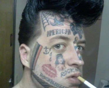rockabilly bad face tats mugshots worst tattoos ever, horrible tattoos, funny tattoos, people, awful, stupid, gross tattoos, ugliest tattoos awkward family photos