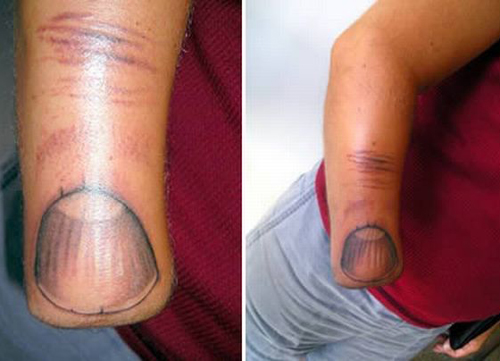 Amputee tattoo, finger tattooed on cut off carm, worst tattoos, funny pictures, uglies tattoos, awkward tattoos, awful tattoos horrible stupid people