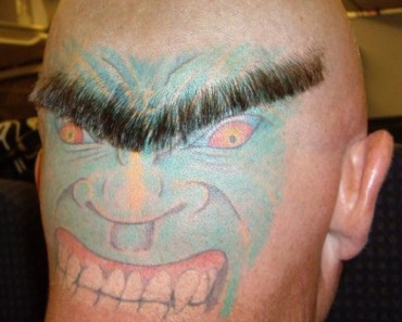 face and eyebrow on back of head bad tattoos terrible awful ugliest tattoos wtf tattoos, horrible awkward family worst tattoos photos crazy people weird people stupid humor redneck humor photobombs