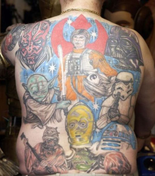 Star Wars Tattoos on Back Bad Star Wars Tattoos, Worst Star Wars Tattoos, ugliest tattoos, funny tattoos, star wars convention, ugliest tattoos, worst tattoos in america, stupid people, funny pictures, wtf, fail, crazy, horrible, terrible, regrettable, regrets, awful ugly