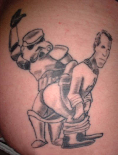 StormTrooper Spanking Capt. Kirk Bad Star Wars Tattoos, Worst Star Wars Tattoos, ugliest tattoos, funny tattoos, star wars convention, ugliest tattoos, worst tattoos in america, stupid people, funny pictures, wtf, fail, crazy, horrible, terrible, regrettable, regrets, awful ugly