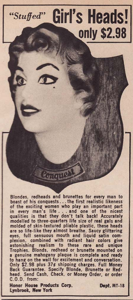 Mounted Woman's Head – Strange Weird Vintage Products & Ads