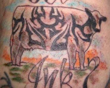 Bad Tribal Cow Tattoo