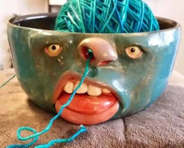 Funny bowl with face and nostrils: Knitting yarn through it's nose