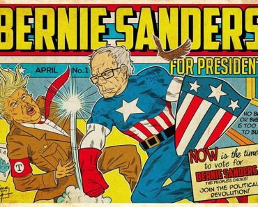 Bernie Sanders for President comic book frame, punching Donald Trump