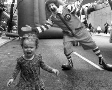 Ronald McDonald scaring little girl