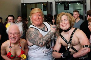Funny pick of Donald Trump, Bernie Sander, Hillary Clinton flexing, tattooed body builders, tattoos