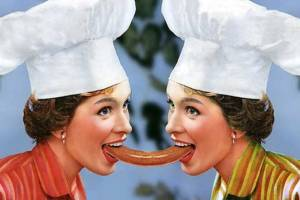 vintage ad, women in chef's hat eating hotdogs, suggestive