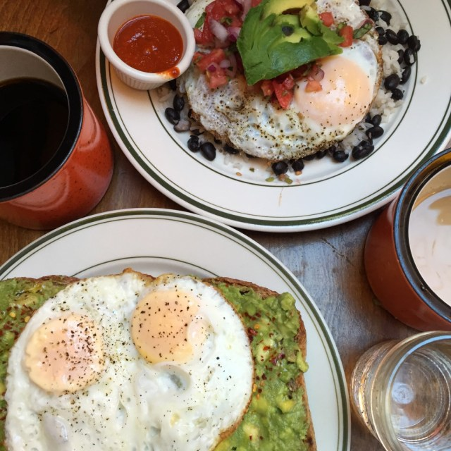 Huevos Rancheros and avocado toast with the BEST COFFEE EVER