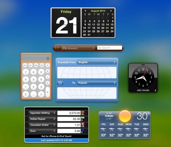 Dashboard Screen in MacBook