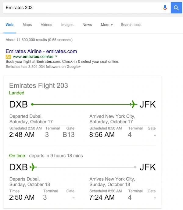 Check Flight Status in Google Search