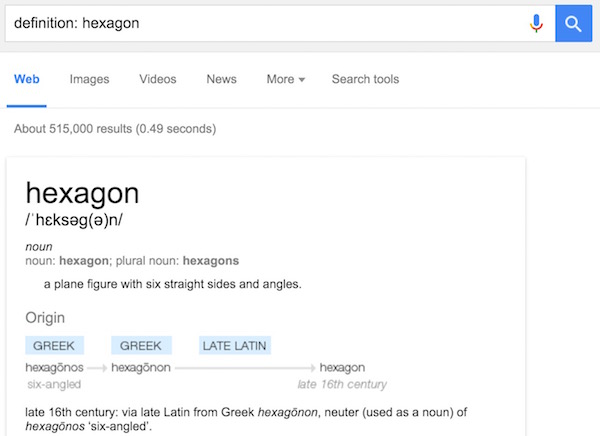 Search definition in google
