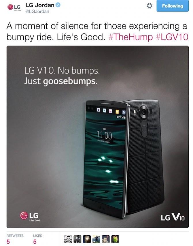 LG mocks Apple for bump ride
