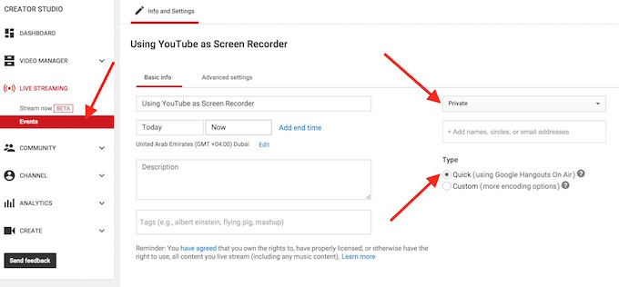 Using YouTube as Screen Recorder