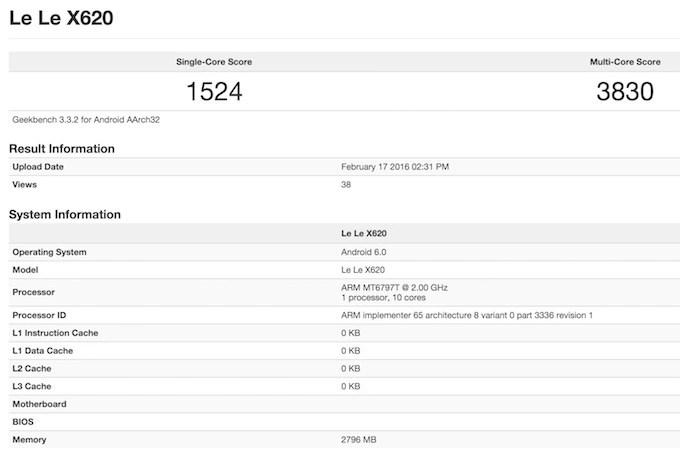 LeTV X620 GeekBench 3