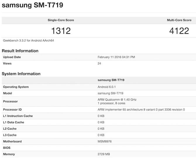 Samsung Tab SM-T719 Geekbench 3 Score
