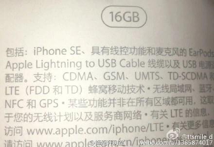 iPhone SE leaked image