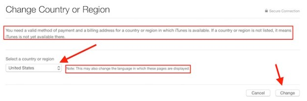 Select Country for Apple ID