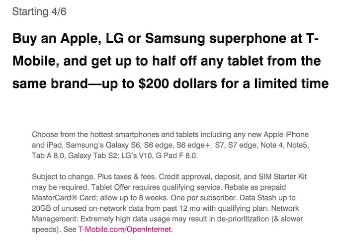 T-Mobile 200 USD Offer