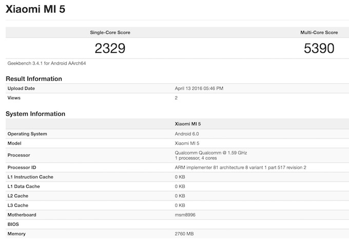 Xiaomi MI 5 Geekbench 3