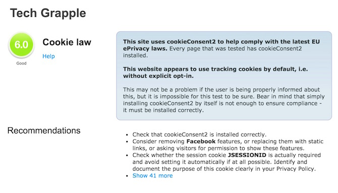 Cookie test report