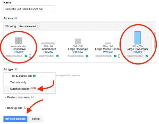Setup Adsense Matched content