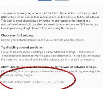 Bad config DNS Probe
