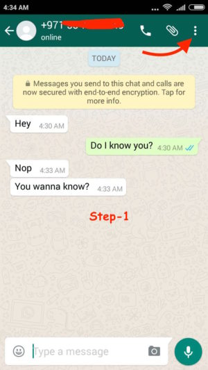 Block WhatsApp User Android step 1