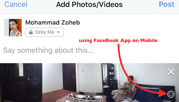 Panorama facebook via app