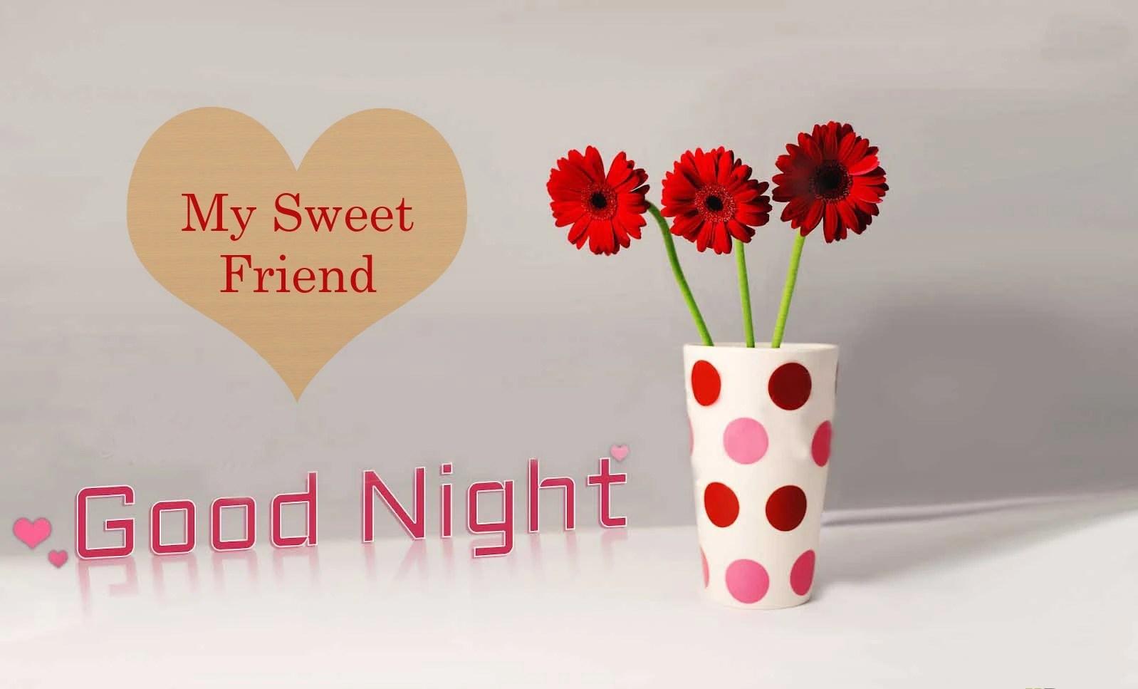 Good night flowers heart image