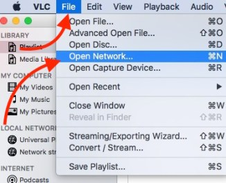 Open Network File on VLC