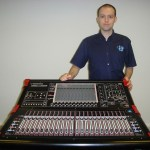 Insync Production's Head of Sound, Ali McGrattan, with their new DiGiCo SD9 console.