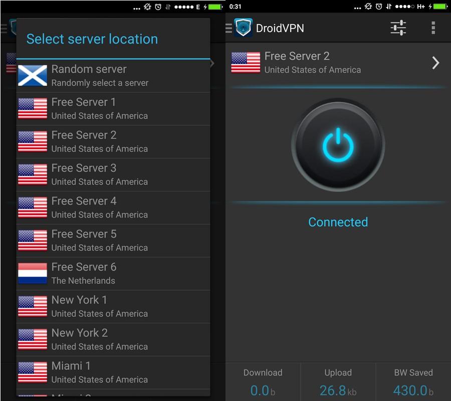 DroidVPN Servers