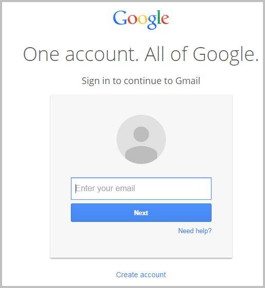gmail account login form