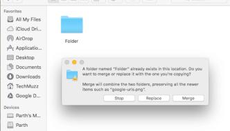 Merge Items Of Two Folders In macOS