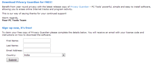 PC Tools Privacy Guardian 2009 License