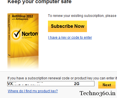 how to  norton if i have a product key