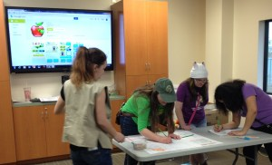 Girls Scouts from Palmdale working on paperprototyping