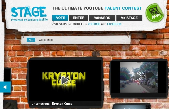 samsung galaxy note - stage android youtube application - talent contest