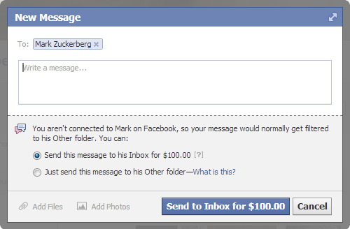 Email mark Zuckerberg for 100$