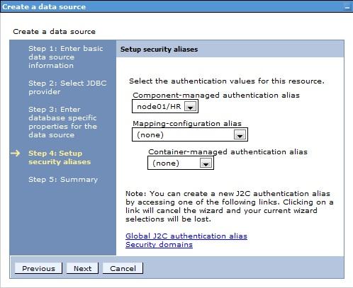 Creating DataSource WebSphere