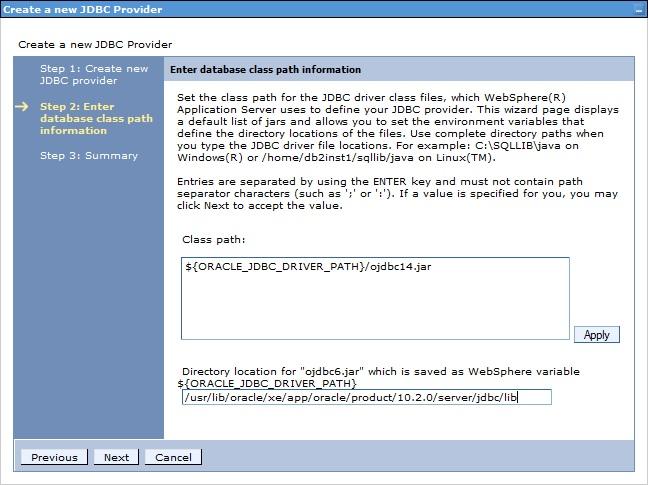 Create a new JDBC provider screenshot 2