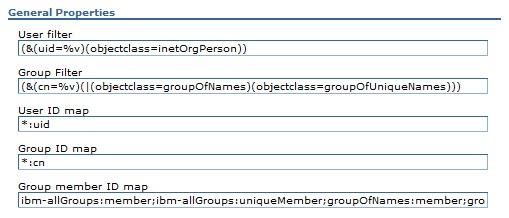 Advanced Lightweight Directory Access Protocol (LDAP) user registry settings screen