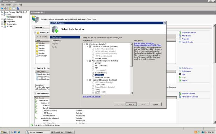 IIS 7 Add role services